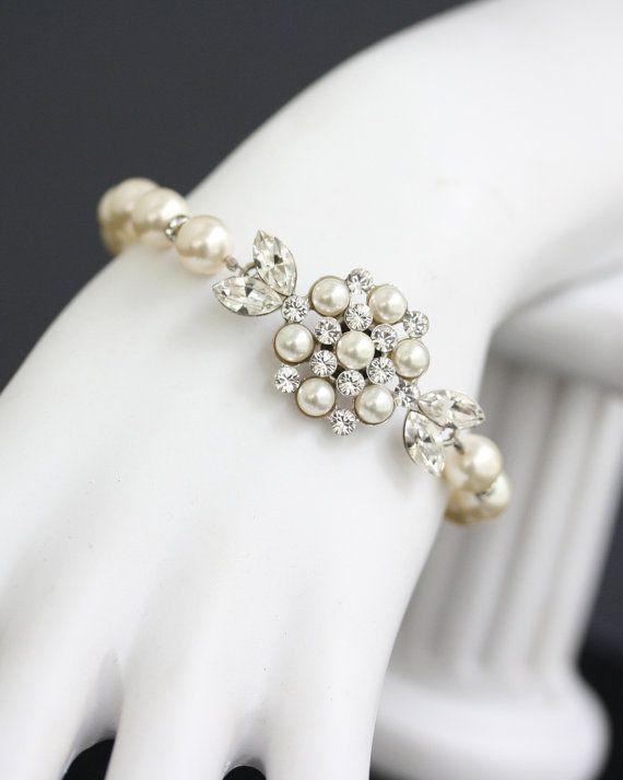 Pearl Bridal Bracelet Vintage Wedding Jewelry Art Deco Style White Ivory Pearl Bracelet ALICE