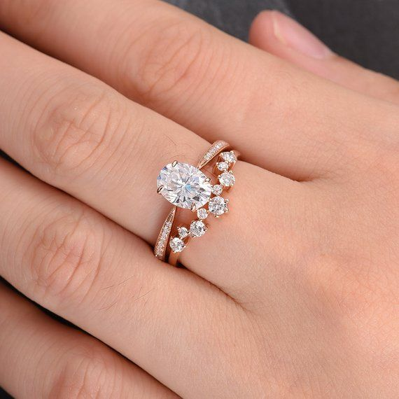 Moissanite Engagement Ring Oval Cut Rose Gold Engagement Ring | Etsy