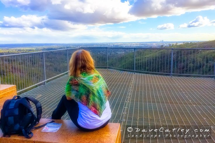 Maggie with her new rainforest scarf at Lesmurdie Falls, Lesmurdie Falls National Park, Western Australia