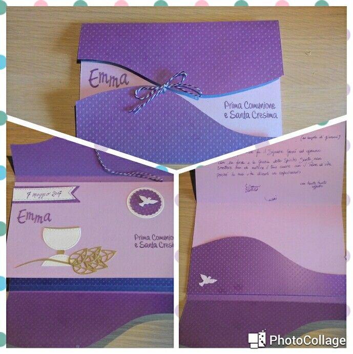 Card x prima comunione e cresima con biglietto e tasca x buoni regalo