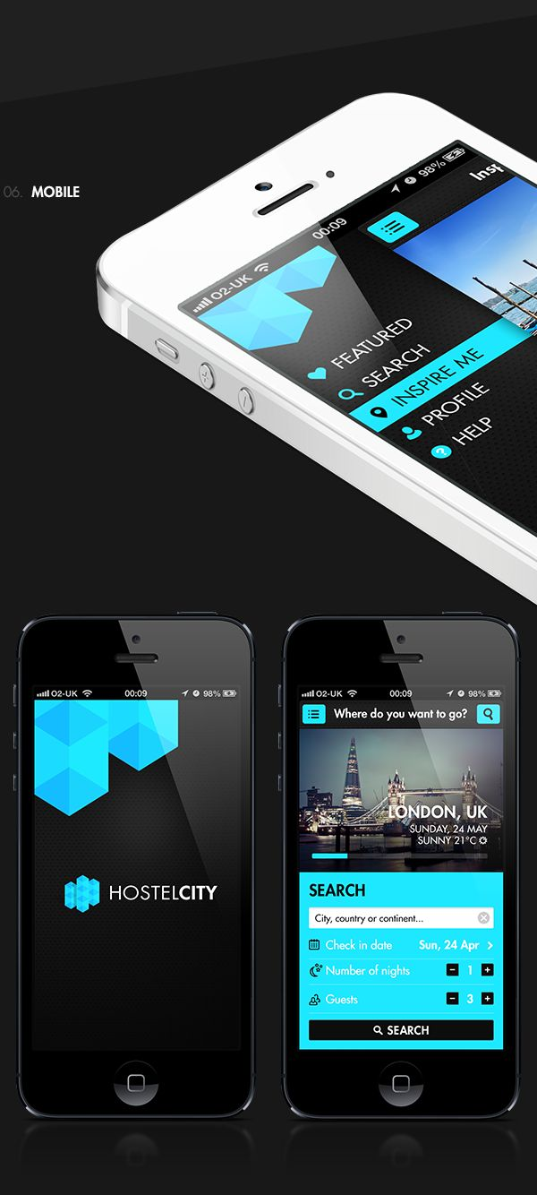 Hostelcity. Przemek Bembnista. Black & Blue. Search. Urban. Accessible. Flat Design. Modern. Beauty. App. iOS.