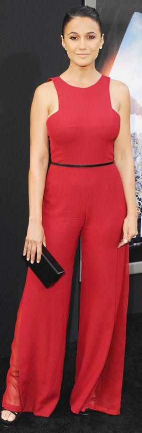 Emmanuelle Chiriqui in a sleek red wide-leg Halston Heritage jumpsuit