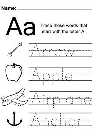 trace the letter a worksheet - Kindergarten Worksheets To Print
