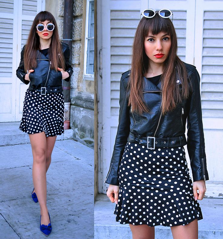 ruffle polka dot skirt and biker jacket in retro style outfit: https://jointyicroissanty.blogspot.com/2017/04/ruffle-skirt.html