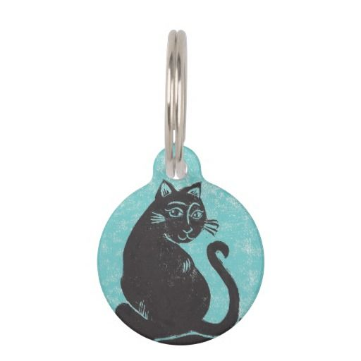 Black Cat Custom Round Pet Tag; Abigail Davidson Art; All tags are ready to customize on the back with your pet's name and your phone number!