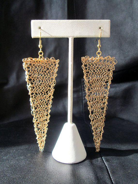 Wire crochet earrings gold tone geometric by LogicFreeDesign, $50.00
