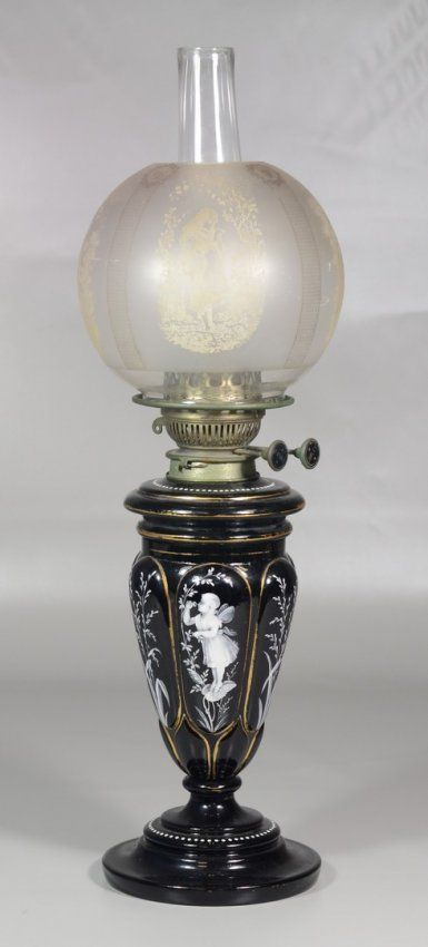 Victorian:  #Victorian ~ Mary Gregory style enameled glass oil lamp, original.