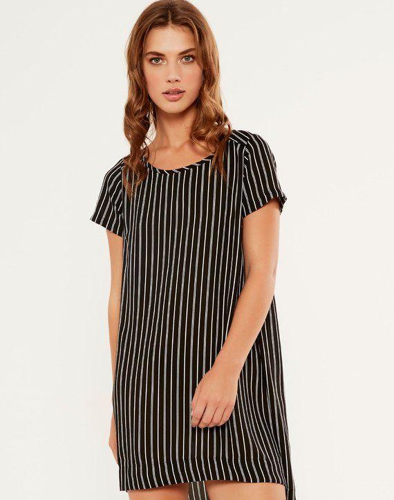 Print High-Low Dress Stripe