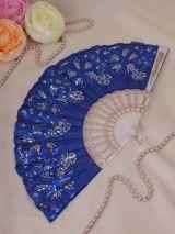 Веер №90 Венок /пластик, ткань/ синий