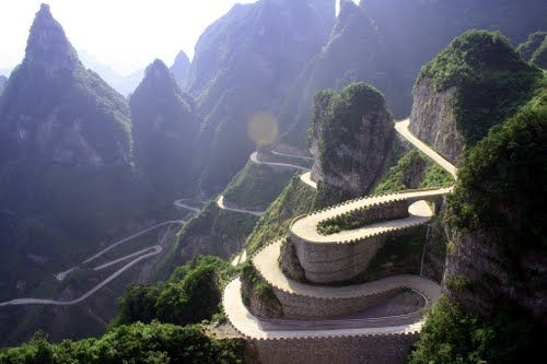 Irohazaka - Japan; photo by wilson tom, via Panoramio    ....mislabeled!  Yongding, Hunan, China / Zhangjiajie Tianmen Mountain
