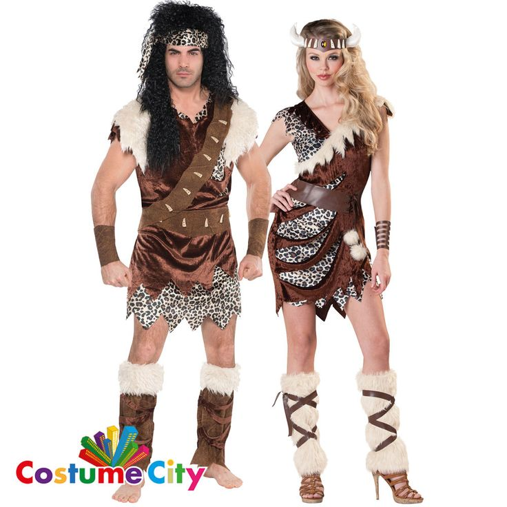 Adults Couples Caveman Barbarian Cavewoman Fancy Dress Halloween Costume #Amscan #CompleteOutfit