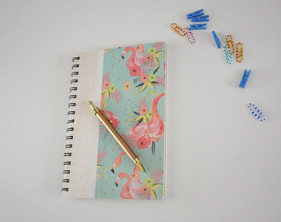 Wooden notebook / Travel journal / Flamingo cover notepad /