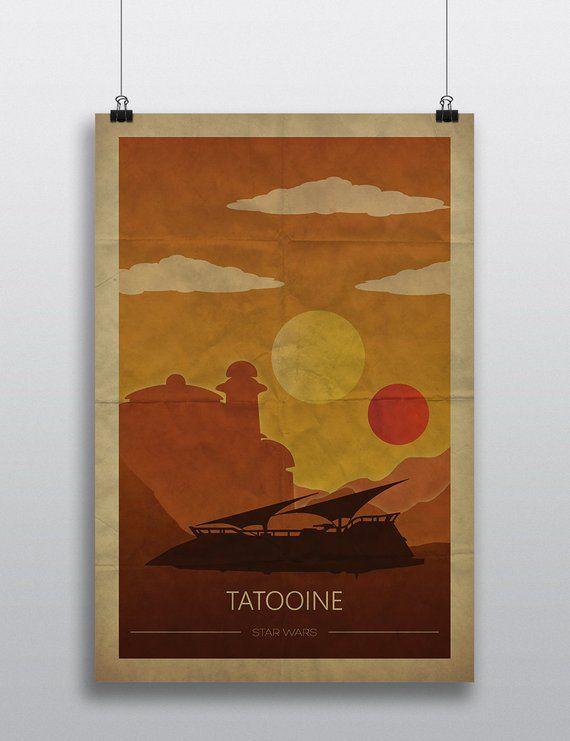 Star Wars Poster Wall Art Decor Print Gift Tatooine Endor Hoth Wall Art Decor Prints Star Wars Poster Art Poster Wall Art