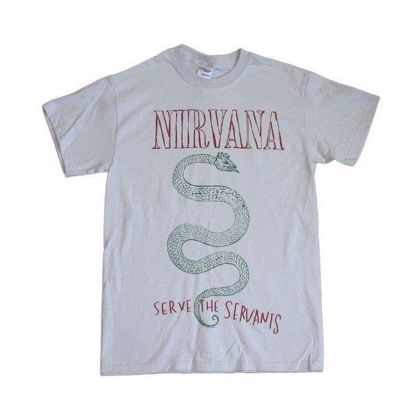 Nirvana Serpent Silver T-Shirt ($18) ❤ liked on Polyvore featuring tops, t-shirts, shirts, tees, shirts & tops, silver tee, t shirts, silver t shirt and silver top