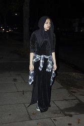 Saima Chowdhury - Topman Wool Hat, Al Madina Hijabs Black Scarf, Asos Velvet Amxi Dress, Primark Check Shirt, H&M Leggings, Converse - Velvet