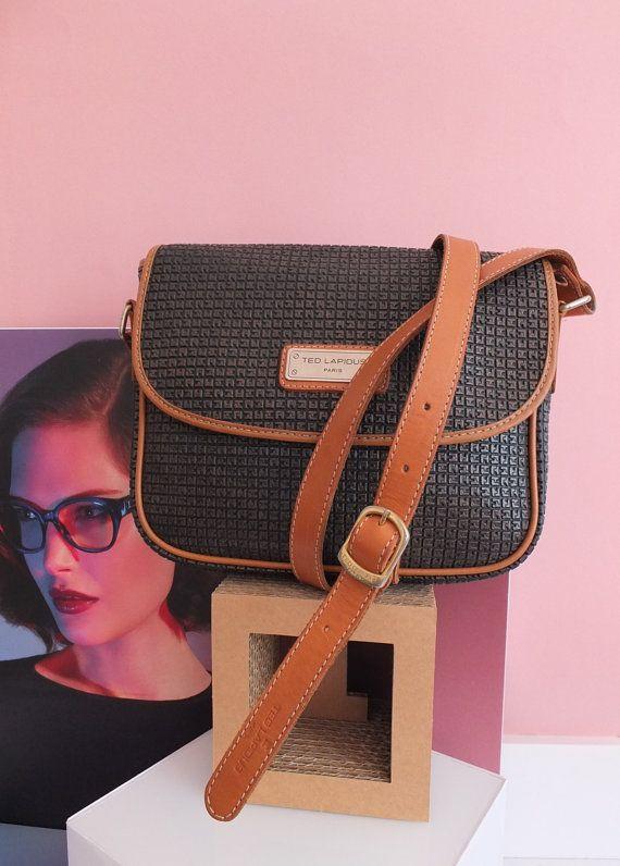 TED LAPIDUS Sac besace  - satchel bag - leather bag - vintage french bag - 1980's