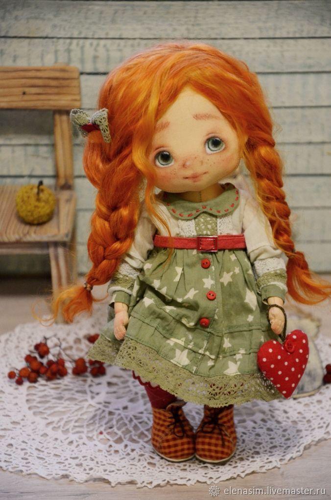 Купить Рыжик - зеленый, кукла, текстильная кукла, интерьерная кукла, авторская кукла, одежда для кукол