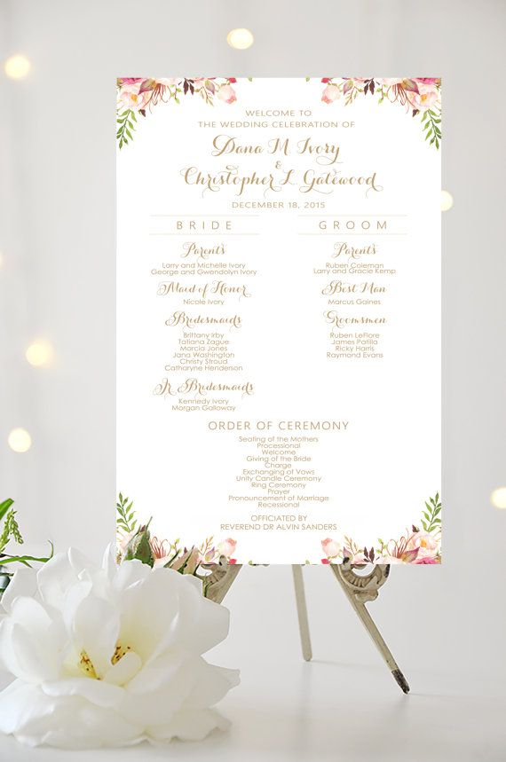 Wedding Party Sign  Wedding Program Sign  by CharmingEndeavours                                                                                                                                                                                 More