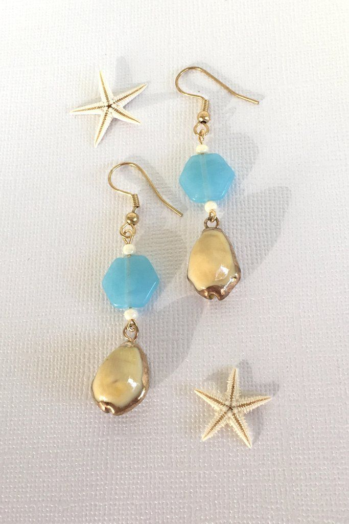 2bceaa661 Earrings High Tide Yellow Cowrie Shell Turq Bead | Seashells and more  magic.... | Earrings, Beads, Shell earrings