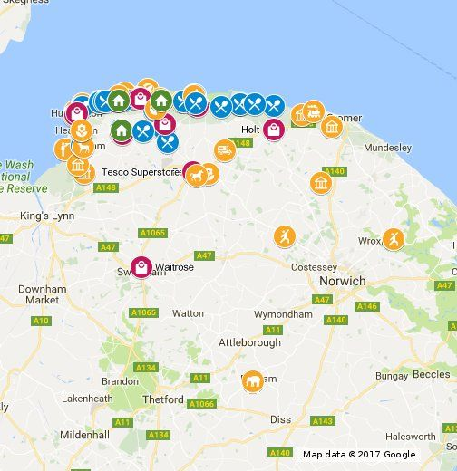 A map to guide you to all the places I've mentioned on my website www.northnorfolkholidaycotts.co.uk