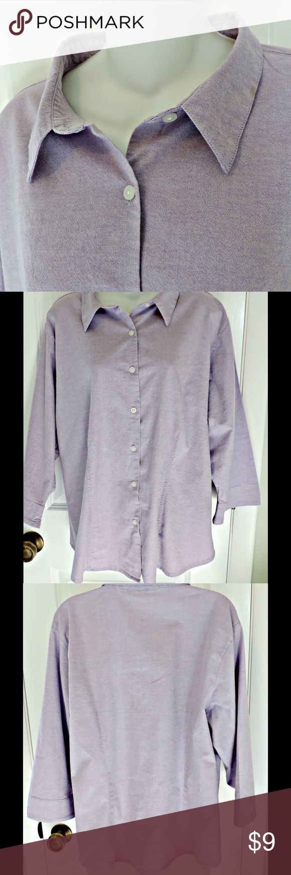 Women's Plus Size 2X Oxford Cloth Tailored Shirt Purple Bay Studio 2X Shirt.  This is an Oxford shirt with white shirt buttons.  It is 91% cotton and 3% spandex.  There are gentle vertical darts front and back.  Very flattering! Bay Studio Plus Tops Button Down Shirts