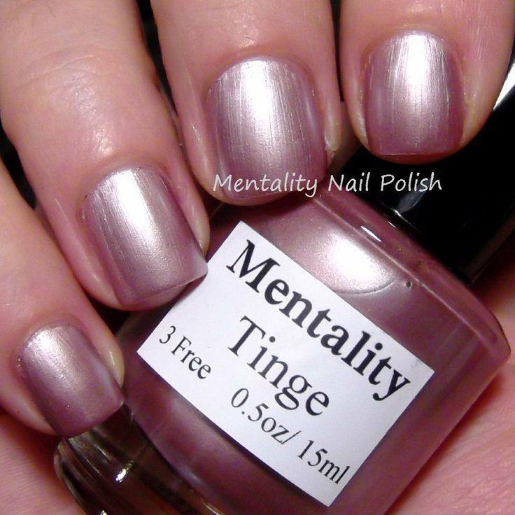 Mentality Nail Polish - Tinge, a silvered rosy pink metallic creme nail polish, dries to a satin finish.