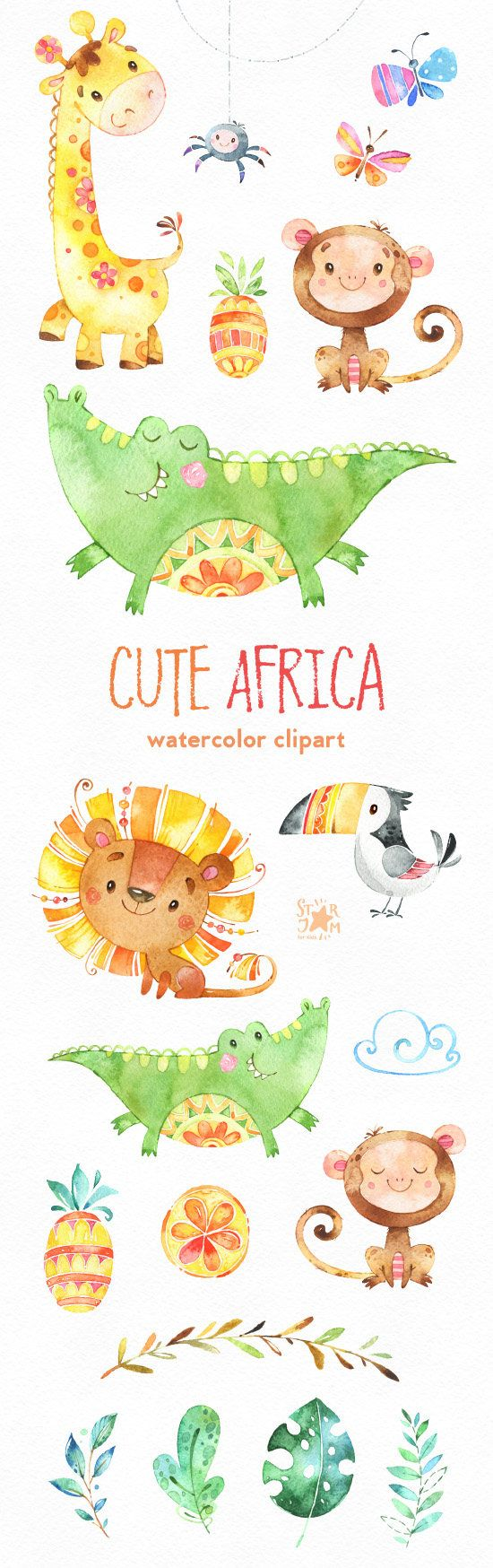 This cute African animals watercolor set is just what you needed for the perfect invitations, craft projects, paper products, party decorations, printable, greetings cards, posters, stationery, scrapbooking, stickers, t-shirts, baby clothes, web designs and much more.  :::::: DETAILS ::::::  This collection includes: - 21 Images in separate PNG files, transparent background, size approx.: 13-4.6in (4000-1400px)  300 dpi RGB  ::::: TERMS OF USE :::::  ► Personal or non-profit  You can use…