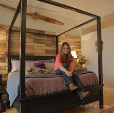 Ana White | Build a Saving Alaska Farmhouse Canopy Bed | Free and Easy DIY Project and Furniture Plans