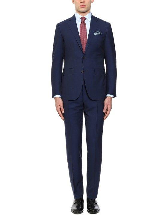 Elegante abito in lana blu con rigatura orizzontale | Acquista su Canali.com