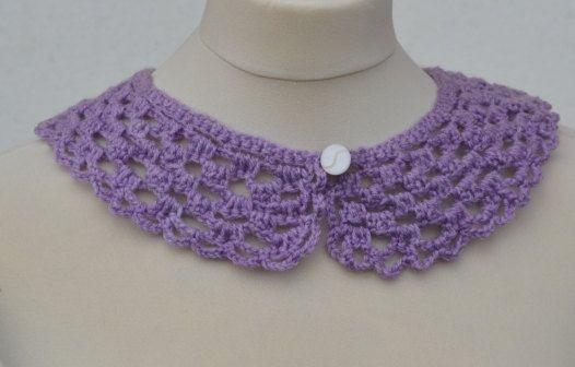 Peter Pan CollarCrochet CollarLight Purple color Detachable
