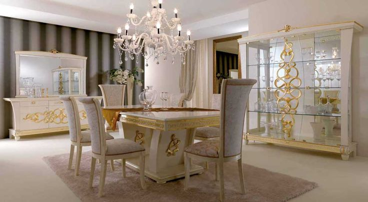 Luxury dining room furniture sets with natural italian furniture