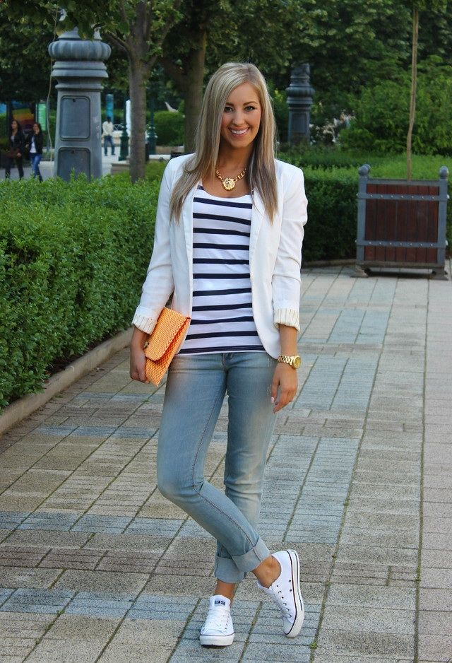 Converse and white blazer