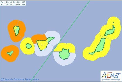 Se activan avisos naranja y amarillos por temporal Canarias, 24 y 25 octubre 2016