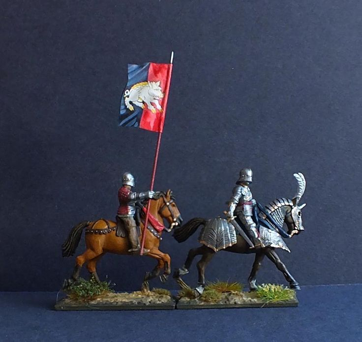 My Version of Richard Duke of Gloucester and his Household Banner bearer at the battle of Tewkesbury 1471. He later became King Richard III. Painted by Bob Hornsby