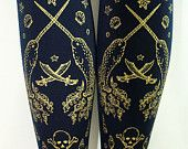 Pirate Tights Narwhals Extra Large Plus Size XL Gold on Navy Blue Women Tattoo Sailor Anchor