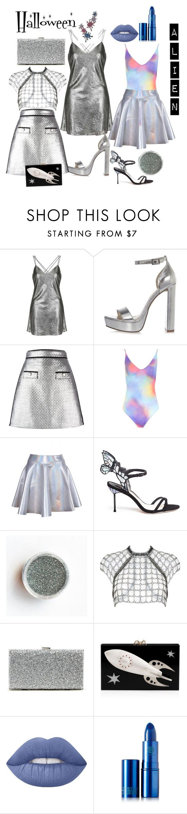Chic Alien by aftermidnight-style on Polyvore featuring Topshop, Fannie Schiavoni, MSGM, River Island, Sophia Webster, Sole Society, Charlotte Olympia, Joanna Laura Constantine, Lipstick Queen and Lime Crime #halloween #alien #costume #ideas #halloweencostume #women #girl #female #glitter #hologram #makeup #halloweenidea #style #fashion