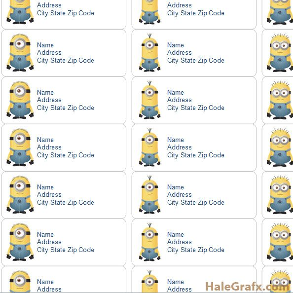 FREE Printable Despicable Me Minions Address Labels