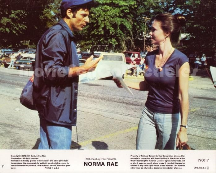 """Movie Lobby Card / Front of House Card Title: Norma Rae Star(s): Sally Field, Ron Leibman Approximate size: 8"""" x 10"""" (205mm x 255mm) Condition: Good. Standard shipping by First Class Mail. 11x14 and l"""