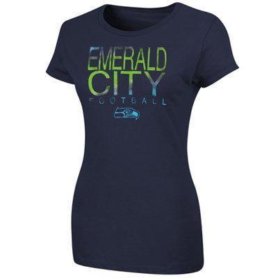 Seattle Seahawks Women's Fashion Slogan T-Shirt - College Navy
