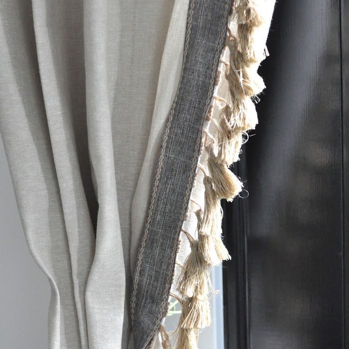 Image Result For Beige Curtains Trimmed In Grey Tassel Curtains Elegant Curtains Headboard Curtains