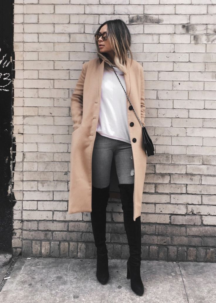 Marianna Hewitt // Life With Me Blog // NYFW Street Style // black over the knee boots stuart weitzman tan oversized coat