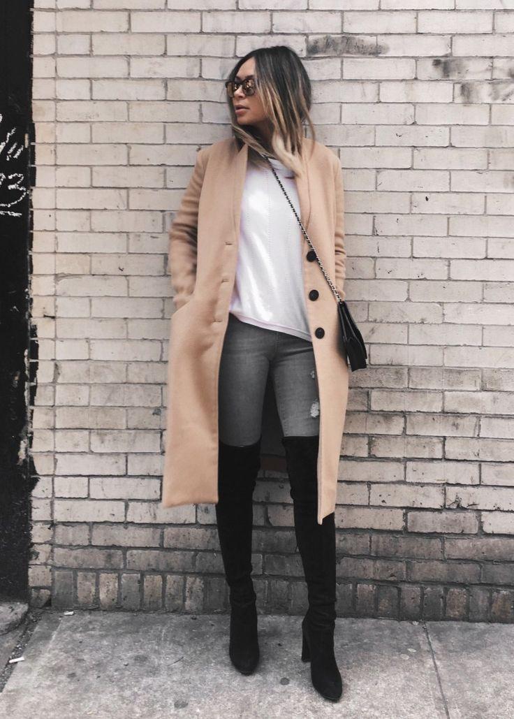 Marianna Hewitt // Life With Me Blog // NYFW Street Style // black over the knee boots stuart weitzman tan oversized coat