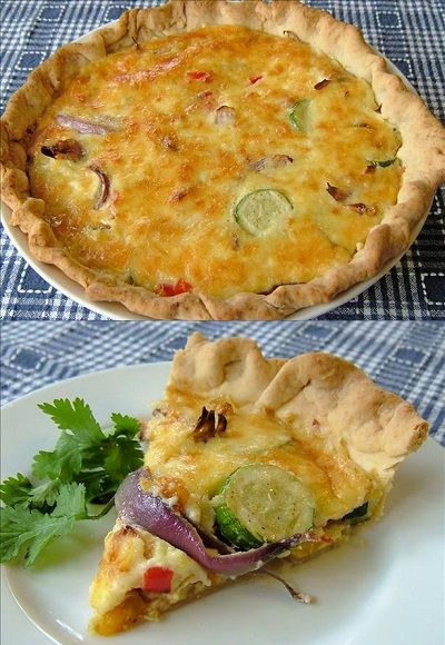Roasted Vegetable and Gruyere Quiche
