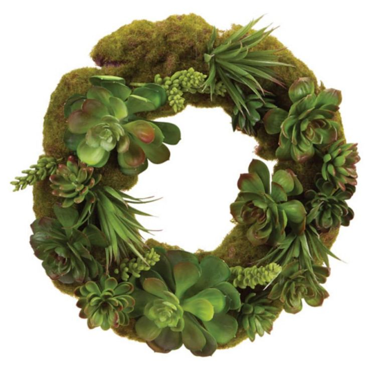 16.5 Southwestern Succulents and Moss Artificial Wreath - Green