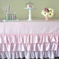 Easy no sew, ruffled tablecloth for less than $10! could make this into curtains or a shower curtain or a duvet