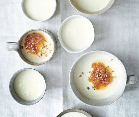 Buttermilk Panna Cotta with Apricot and Candied Fennel Recipe | Epicurious.com