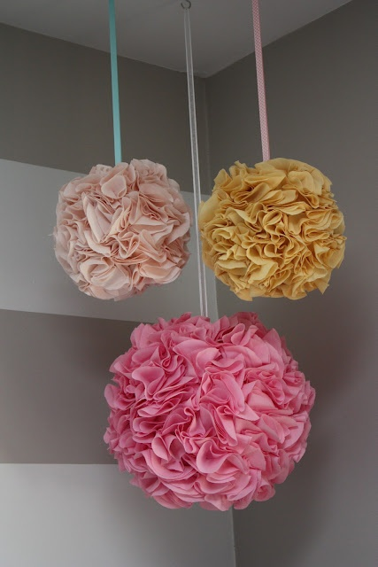 DIY Tutorial for ruffle fabric balls, using a paper lantern, fabric, glue gun, and a long weekend. Such an adorable addition to any little girl's room!