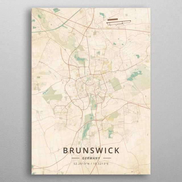 Brunswick Germany by DesignerMap Art metal posters