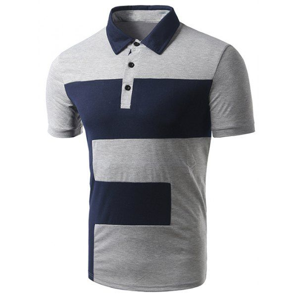 Turn-down Collar Color Block Short Sleeve Polo T-Shirt For Men