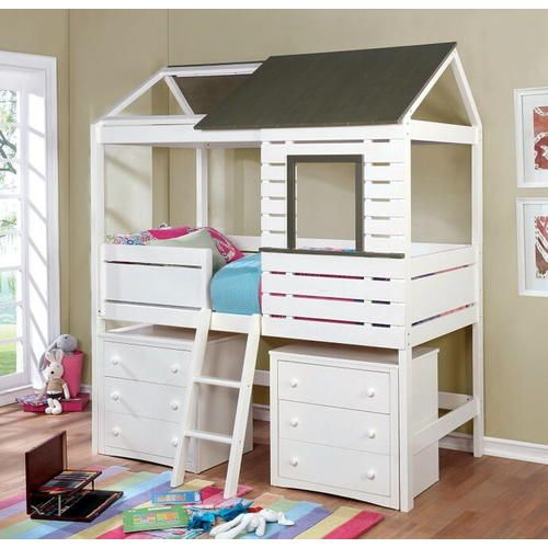 Furniture of America Farem collection gray and white finish wood loft play house design twin size bed - Sears